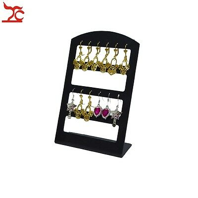 Black Acrylic Jewelry Display Rack Stand Holder Organizer For 12 Pairs Earrings