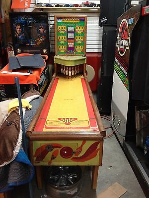 Two 1951 UNITED Star SHUFFLE ALLEY Arcade BOWLING MACHINE -DIME Rare Unique Game