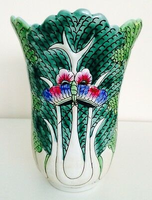 Antique Chinese Famille Verte Green Cabbage Leaf Porcelain Vase with Butterflies