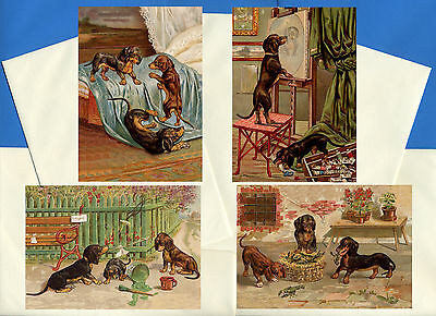 Dachshund Pack Of 4 Vintage Style Dog Print Greetings Note Cards #1