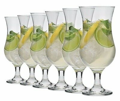6x Set Fiesta Hurricane Pina Colada Cocktail Glass Large 16oz / 460ml+FREE SPOON