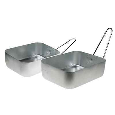 2 x ALUMINIUM FOLDING COOKING SET CAMPING PICNIC BBQ MESS TIN BOWL TRAY OLFCS
