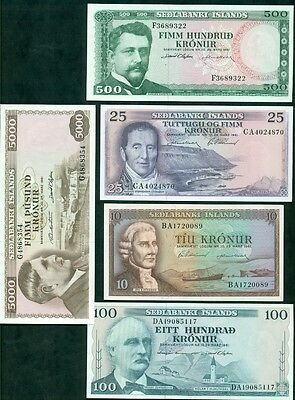 ICELAND 1961 ISSUE 10kr/5000kr, 5 diff, all crisp GEM UNCIRCULATED