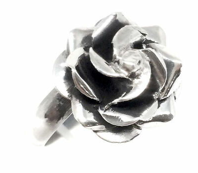 Taxco Mexican Sterling Silver Rose Floral Flower Adjustable Ring Mexico
