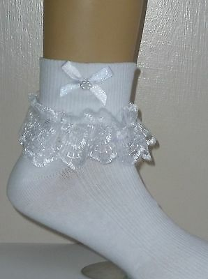 Girls  White Frilly Lace  Socks Size Loads Of Sizes White Bows And Beads
