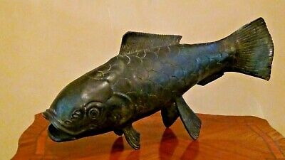 Antique 19C Chinese Large Bronze  Etched Coy Fish Statue