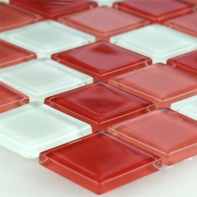 Glass Mosaic Tiles White Red Mix 25x25x4mm