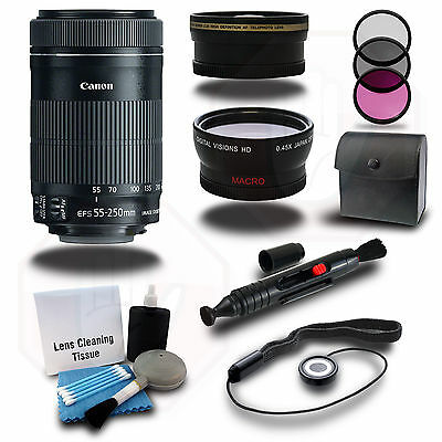 Canon EF-S 55-250mm f/4-5.6 IS STM Lens + HD Wide Angle Lens+TelePhoto Lens+More