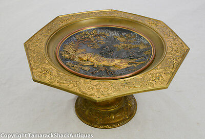 """Antique Fine Brass & Copper Bird Dog Game Hunting Lodge 11"""" Compote Repousse"""