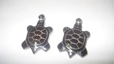 2pc Natural Hematite Medium Turtle Crystal Healing Gemstone Pre Looped Pendants