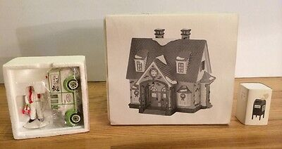 Dept 56 Snow Village Double Bungalow Mailbox Milk Man Home Delivery Christmas