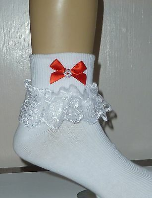 """Girls White Frilly Lace Socks Size Lots Of Sizes Red Bow """""""""""""""""""""""""""""""""""""""""""""""""""""""""""""""""""