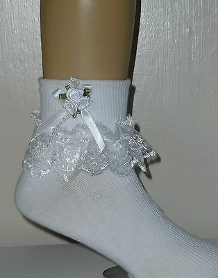 """Girls White Frilly Lace Socks Size Lots Of Sizes White Bow And Beads"""""""