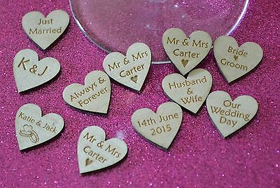 laser engraved plywood HEARTS x 100 ♥ with personal message for wedding table