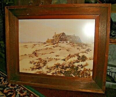 Interesting painting Print By Duncan 1979-Ocean Front Home-Framed-Superb Art
