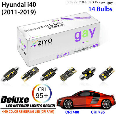 14 Bulbs Xenon White LED Interior Light Kit Package For Hyundai i40 2011-2015
