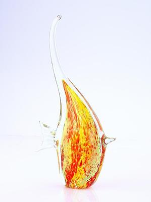 "New 12"" Hand Blown Art Glass Tropical Fish Sculpture Figurine Red Yellow Clear"