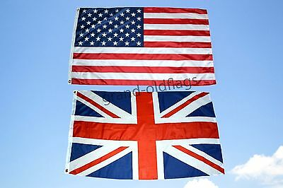 LOT 3' X 5' U.S. AMERICAN & UNITED KINGDOM UNION JACK FLAG 3X5