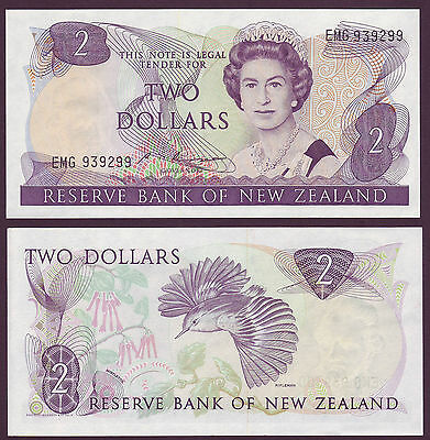 NEW ZEALAND 2 DOLLARS RUSSELL  P 170b QEII NOTE  UNC $2