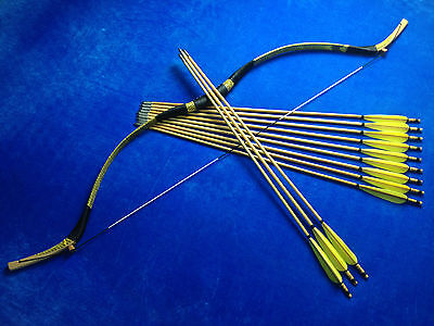 Beautiful 45LBS handmade Snakeskin Mongolian Longbow Bow 12 wood arrows Recurve