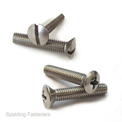 Stainless UNF Raised Countersunk Slotted & Pozi Machine Screws. 10-32 & 1/4""