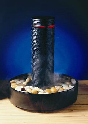 Avalon Black Tower Indoor Table Water Feature Fountain with Light & Mister