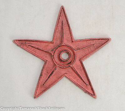 """Antique 8 1/2"""" Red Enamaled Cast Iron Heavy Rustic Painted Architectural Star"""