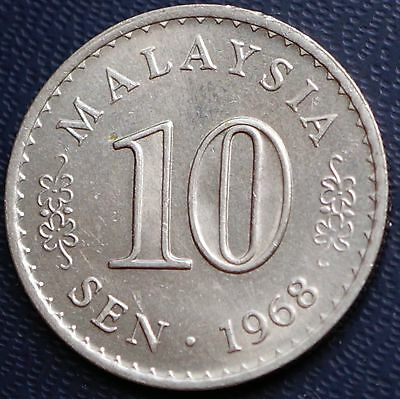 1968 Malaysia 10 Sen KM# 3 MS Mint State UNC Coin