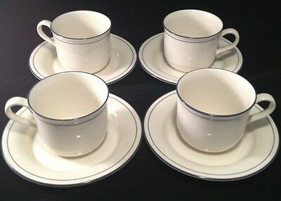 LENOX - Blue Pinstripes -(4) Cup & Saucer Set