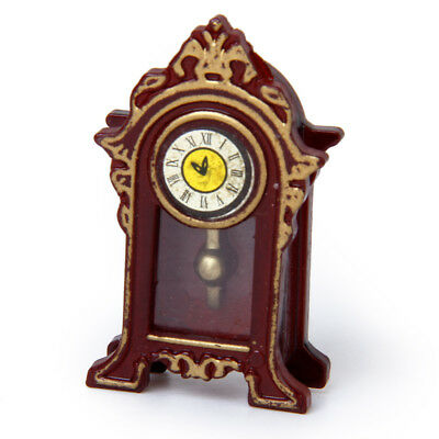 Doll House Grandfather Antique Style Wood Table Mantel Clock Vintage Room Decor