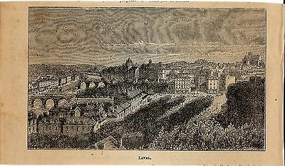 Stampa antica LAVAL panorama Maine-et-Loire 1898 Ancien gravure Old Print