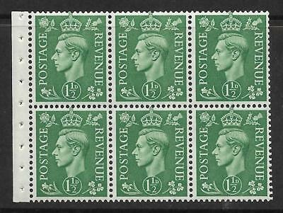 QB26 perf type I -1½d Pale Green Booklet pane UNMOUNTED MINT/MNH