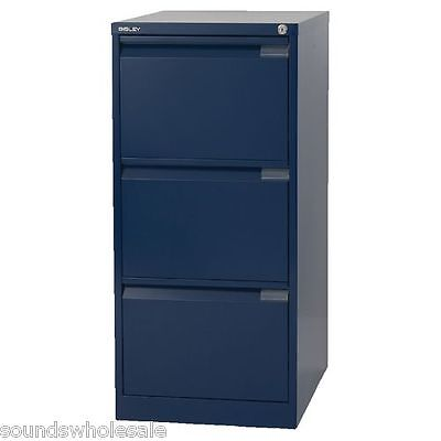 3 Drawer 'professional' Bisley Steel Filing Cabinet Blue A4 -  New