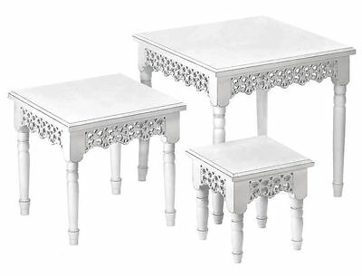 Elegant French Country White Scrollwork 3 Nesting Tables Shabby Cottage Chic