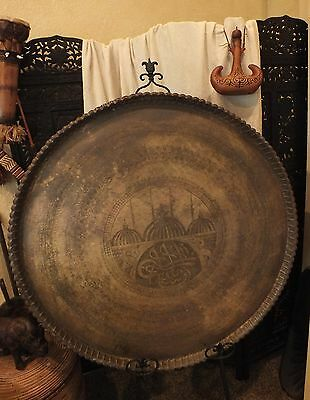 """Large Old 39 1/2"""" Handcrafted  Brass ISLAMIC~PERSIAN TABLE TOP~WALL PLAQUE"""