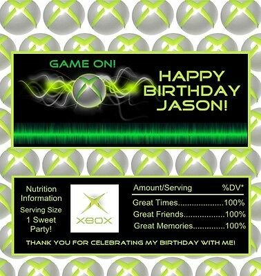 12 Gamers Personalized Birthday Candy Bar Wrapper