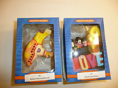Lot of 2 Beatles Holiday Ornaments - Sgt Pepper LOVE Yellow Submarine Xmas Band