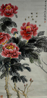Chinese Watercolor FLOWER Wall Hanging Scroll Painting signed He Xiangning