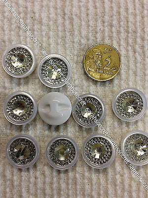 10 x PLASTIC BUTTONS with ROUND DIAMONTE RING  - 17.5mm  - #B830
