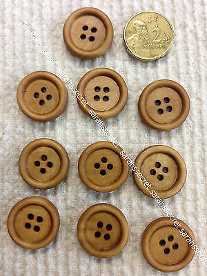 10 x WOODEN BUTTONS with ROUND BROWN   - 20mm  - #B886