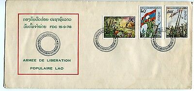 Laos Stamp 1978 Army Day Soldiers Fighters War Fdc See Scan
