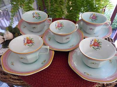 Adams CALYX WARE Lowestoft #2087 Black Stamp Mix Lot of 5 Sets Cups & Saucers