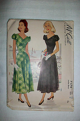 ~^~ Vintage 40's 1948 McCall's Sewing Pattern # 7174 Junior Dress Size 11 ~^~
