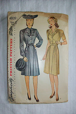 ~ Vintage 40's  Simplicity Sewing Pattern #4809 Misses' One-Piece Dress ~