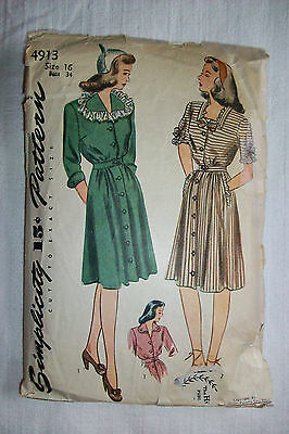 ~ Vintage 40's  Simplicity Sewing Pattern #4913 Misses' One-Piece Dress ~