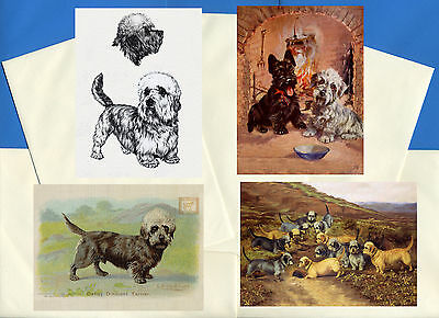Dandie Dinmont Terrier Pack Of 4 Vintage Style Dog Print Greetings Note Cards #3