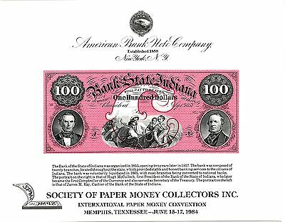 1984 ABNCo Souvenir Card $100.00 Bank of the State of Indiana - SO37