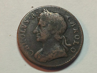 Great Britain 1673 Charles Ii Higher Grade Farthing Colonial Coin