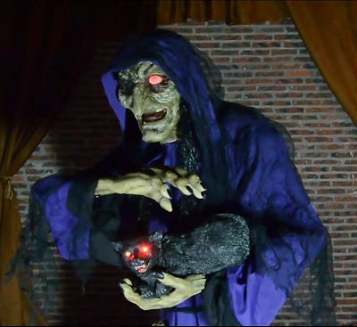 Halloween Prop MATHILDA THE WITCH & CAT  Animated Haunted House Party Decoration