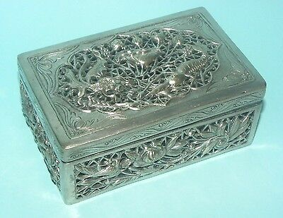 Rare Antique Chinese Canton Export Solid Silver Pierced Repousse Box Figural
